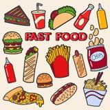 Ajuste dos crachás do pop art Fast food ilustração stock