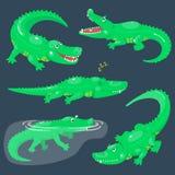 Ajuste dos crocodilos bonitos dos desenhos animados para gráficos das crianças Animais de sorriso adoráveis verdes em poses difer ilustração royalty free
