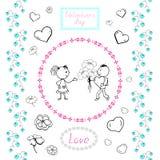 Ajuste dos desenhos para o coração do dia de Valentim, par no amor, flores para a decoração dos cartões ilustração royalty free