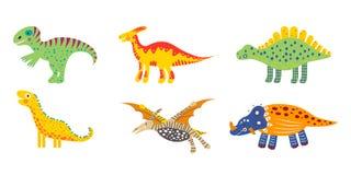 Ajuste dos dinossauros bonitos coloridos das crianças do berçário Para os t-shirt das crianças, cartazes, bandeiras, cartões, art ilustração royalty free
