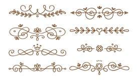 Ajuste dos divisores swirly decorativos ilustração do vetor