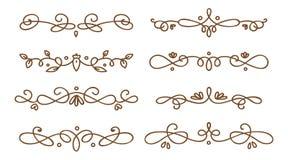Ajuste dos divisores swirly decorativos ilustração stock