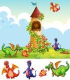 Ajuste dos dragões no cenário do castelo ilustração royalty free