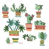 Ajuste dos elementos diminutos adoráveis do projeto de plantas Coleção de houseplants tirados mão em uns potenciômetros no estilo ilustração stock