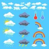 Ajuste dos elementos do pixel do tempo Nuvens, nuvems tempestuosa, arco-íris Ilustra??o do vetor ilustração stock