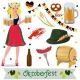 Ajuste dos elementos do projeto de Oktoberfest do vetor Ilustra??o isolada vetor ilustração stock