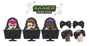 Ajuste dos elementos dos jogos de vídeo ilustração do vetor