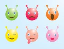 Ajuste dos emoticons com diabos pequenos ilustração royalty free