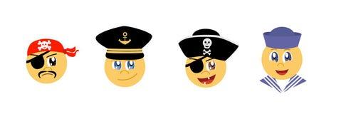 Ajuste dos Emoticons gráficos - tema do mar Coleção do emoji Ícones do sorriso ilustração royalty free
