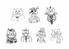 Ajuste dos esbo?os engra?ados dos gatos Imita??o dos desenhos das crian?as Esbo?ado, garrancho Ilustra??o do vetor ilustração stock