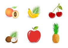 Ajuste dos frutos: todo e partes - bananas, abacaxi, coco, pêssego, maçã, cerejas ilustração royalty free