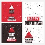 Ajuste dos fundos com queque e texto inglês Feliz aniversario! ilustração royalty free