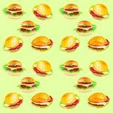 Ajuste dos hamburgueres frescos deliciosos Ilustração da aquarela isolada no fundo verde Teste padrão sem emenda ilustração do vetor