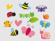 Ajuste dos insetos engraçados dos desenhos animados isolados sobre branco - vetor ilustração do vetor