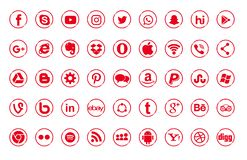 Ajuste dos logotipos sociais populares dos meios, ícones Instagram vermelho, Facebook, Twitter, Youtube, WhatsApp, LinkedIn, Pint ilustração do vetor