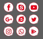 Ajuste dos logotipos sociais populares dos meios, ícones Instagram vermelho, Facebook, Twitter, Youtube, WhatsApp, ilustração royalty free