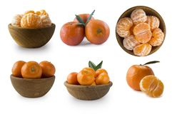Ajuste dos mandarino frescos Tangerinas maduras e saborosos isoladas no fundo branco Tangerinas frescas com espaço da cópia para  imagens de stock