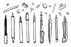Ajuste dos materiais tirados mão do artista do vetor do esboço Ilustração estilizado preto e branco com ferramentas de desenho Pe ilustração do vetor