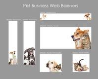 Ajuste dos moldes da bandeira da Web do negócio do animal de estimação foto de stock