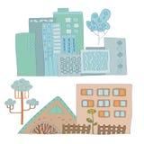 Ajuste dos moldes da cidade do artoon do  de Ñ com imagens coloridas do vetor das casas imagens de stock royalty free