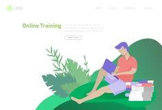 Ajuste dos moldes do projeto do p?gina da web com os povos de aprendizagem relaxados exterior para a educa??o, o treinamento e cu ilustração do vetor