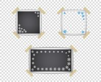 Ajuste dos moldes do quadro da foto com teste padrão da sombra e do floco de neve Elemento do projeto do vetor isolado em um fund ilustração do vetor