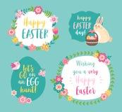 Ajuste dos moldes felizes da Páscoa com inscrição do cumprimento, grinaldas da flor, coelho e ovos ilustração do vetor