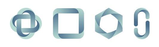 Ajuste dos moldes dos logotipos do inclinação Ilustração de cor do vetor ilustração do vetor