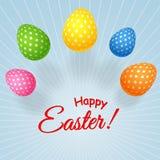 Ajuste dos ovos da páscoa brilhantes decorativos nas ervilhas em um elemento claro do fundo para o projeto dos cartões para o sum ilustração do vetor