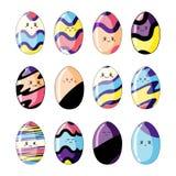 Ajuste dos ovos da páscoa coloridos bonitos no kawaii do estilo isolados no fundo branco ilustração royalty free