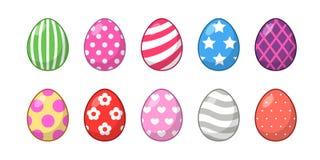 Ajuste dos ovos da páscoa com textura e cor diferentes em um fundo branco Feriado da mola ilustração royalty free