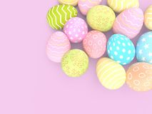 Ajuste dos ovos da páscoa decorativos com testes padrões diferentes no fundo pastel ilustração stock