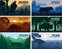 Ajuste dos países de Europa Oriental: Ucrânia, Bulgária, Moldova, Polônia, Romênia, Bielorrússia com animais ilustração do vetor