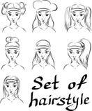 Ajuste dos penteados do vetor no cabelo longo ilustração stock