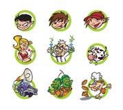 Ajuste dos personagens de banda desenhada, um estilo liso Imagem do vetor isolada no fundo branco Caráteres do tipo para a cópia  ilustração royalty free