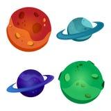 Ajuste dos planetas coloridos, ilustração do vetor