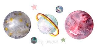 Ajuste dos planetas e das estrelas dos desenhos animados ilustração stock