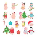 Ajuste dos porcos felizes e engraçados no fundo branco ilustração royalty free