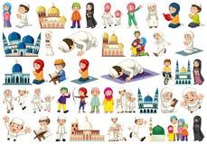 Ajuste dos povos islâmicos ilustração stock