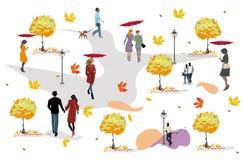 Ajuste dos povos que têm o resto no parque no outono ilustração stock