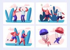 Ajuste dos povos superiores ostentam a atividade e o estilo de vida saudável As pessoas adultas nos esportes vestem fazer o ar li ilustração stock