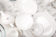 Ajuste dos pratos brancos, vista superior fotos de stock