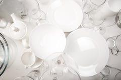 Ajuste dos pratos brancos, vista superior foto de stock