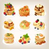 Ajuste dos pratos saborosos da panqueca serviu para o café da manhã ilustração do vetor