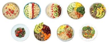 Ajuste dos pratos saudáveis com o quinoa na vista branca, superior imagens de stock royalty free