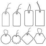 Ajuste dos pre?os brancos vazios em formas diferentes Etiquetas de papel vazias com o modelo da corda isolado no fundo cinzento E ilustração stock