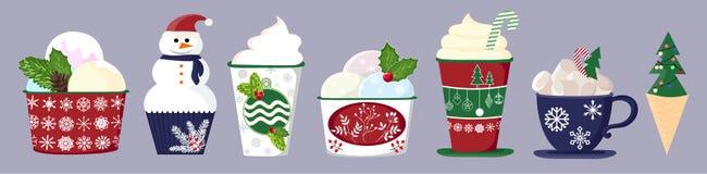 Ajuste dos queques, dos bolos, das sobremesas, do gelado e dos anéis de espuma deliciosos coloridos Ícones do queque, estilo liso ilustração stock