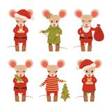 Ajuste dos ratos do Natal isolados no fundo branco Personagens de banda desenhada Ilustra??o do vetor ilustração royalty free