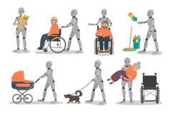 Ajuste dos robôs domésticos no fundo branco ilustração do vetor