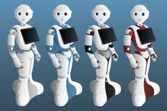 Ajuste dos robôs realísticos com tabuleta digital ilustração royalty free